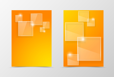 technologic: Front and back digital flyer template design. Abstract template in orange colors with transparent squares with glossy effect in futuristic style. Vector illustration