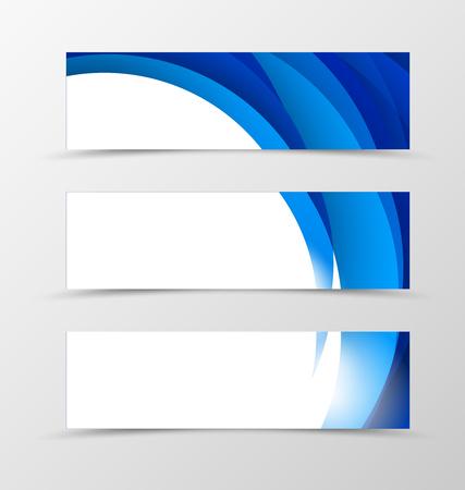 wavy background: Set of header banner dynamic design with blue waves in light soft style. Vector illustration