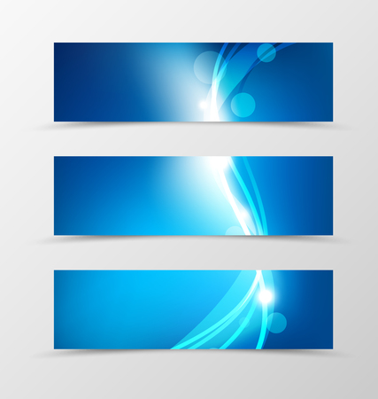 Set of header banner dynamic design in blue colors with lines, glowing effect and transparent circles in light style. Vector illustration Illustration