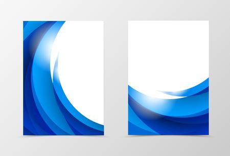 Conception de modèles de flyer dynamique avant et arrière. Modèle abstrait avec des vagues bleues dans un style léger et souple. Illustration vectorielle Vecteurs