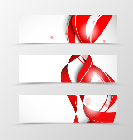 lines vector: Set of header banner wave design with red lines in soft style. Vector illustration