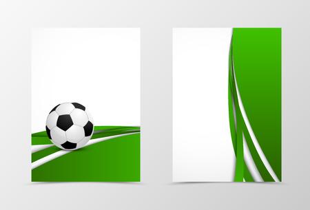 Frontal y posterior diseño de plantilla de viajero digital. Plantilla abstracta con olas verdes y balón de fútbol en estilo futurista. Ilustración vectorial