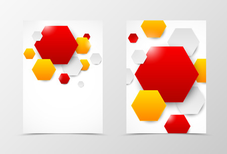 style template: Front and back geometric flyer template design. Abstract template with red, orange and gray hexagons in dynamic style. Vector illustration Illustration