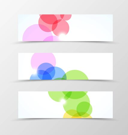 technologic: Set of header banner dynamic design with colorful transparent circles in geometric style. Vector illustration