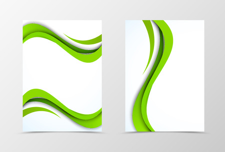 style template: Front and back wave flyer template design. Abstract template with green bend lines in bright style. Vector illustration Illustration