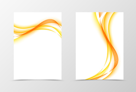 lines vector: Front and back wavy flyer template design. Abstract template with orange lines in light soft style. Vector illustration