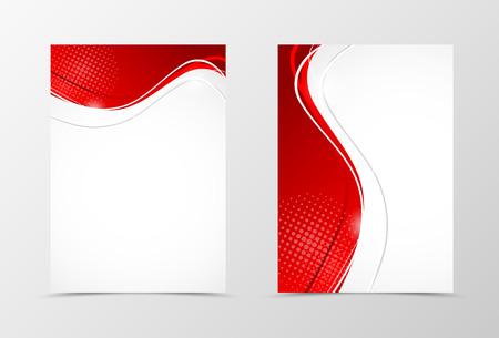 Conception de gabarit ondulé ondulé avant et arrière. Modèle abstrait avec des lignes rouges et effet de demi-teinte en style numérique. Illustration vectorielle