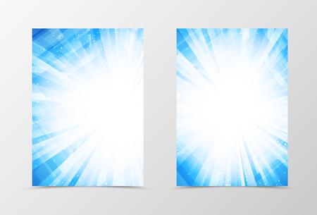 Diseño frontal y plantilla de volante respaldo digital. Resumen plantilla en colores azules con el destello brillante en el estilo futurista. ilustración vectorial