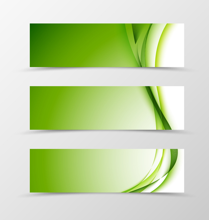 Set of header banner wavy design with green lines in light style. Vector illustration