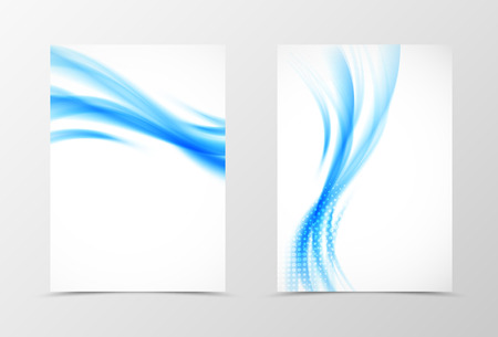 style template: Front and back wavy flyer template design. Abstract template with blue lines and halftone effect in soft style. Vector illustration