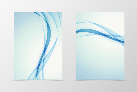Front and back wave flyer template design. Abstract template with blue lines in smooth style. Vector illustration Ilustrace