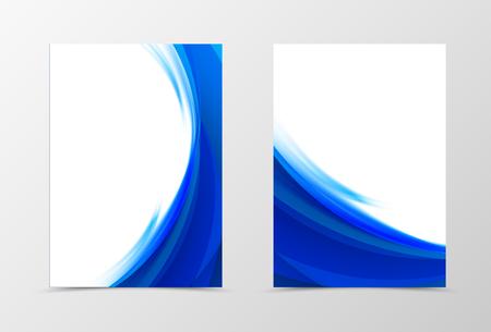 Front und Back Wave Flyer Vorlage Design. Abstrakte Schablone mit dunkelblauen Linien in der dynamischen Art. Vektor-Illustration