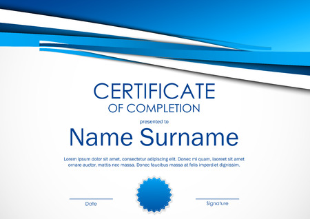 completion: Certificate of completion template with light blue dynamic material background and seal. Vector illustration