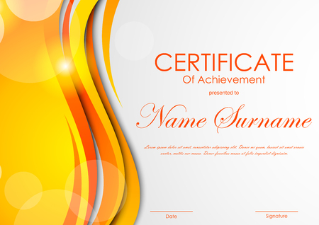 technologic: Certificate of achievement template with digital light orange bent wavy background. Vector illustration Illustration