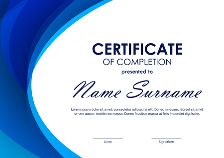 completion: Certificate of completion template with blue futuristic wavy background. Vector illustration
