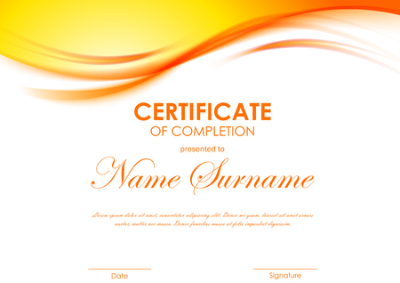 completion: Certificate of completion template with dynamic orange soft wavy background. Vector illustration Illustration