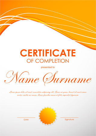 completion: Certificate of completion template with dynamic bright orange curved wavy background and seal. Vector illustration