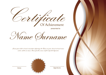brown swirl: Certificate of achievement template with brown dynamic wavy swirl background and seal. Vector illustration