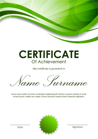green swirl: Certificate of achievement template with green dynamic wavy swirl background and seal. Vector illustration Illustration