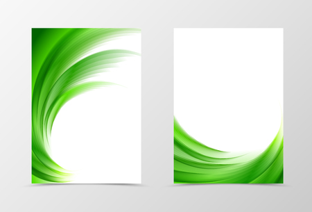 green swirl: Front and back wave flyer template design. Abstract template with green lines in swirl soft style. Vector illustration