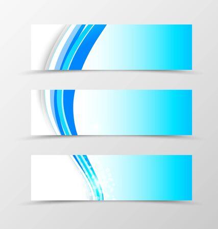 banner effect: Set of header banner wave design with blue lines and halftone effect on light background in dynamic style. Vector illustration Illustration
