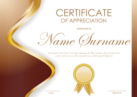 Certificate of appreciation template with paper light red dynamic certificate of appreciation template with brown wavy curved striped background and gold label vector illustration yadclub Gallery