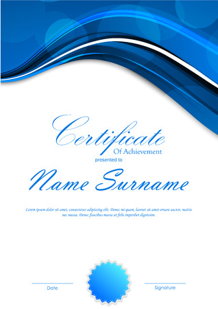 Certificate of achievement template with blue dynamic light background and seal. Vector illustration
