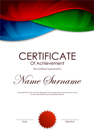 red seal: Certificate of achievement template with colorful bright wavy swirl background and red seal. Vector illustration Illustration