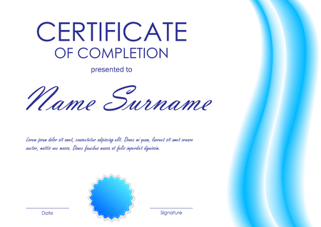 completion: Certificate of completion template with blue dynamic light wavy background and seal. Vector illustration