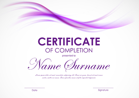 Certificate of completion template with purple transparent wavy smoky soft background. Vector illustration