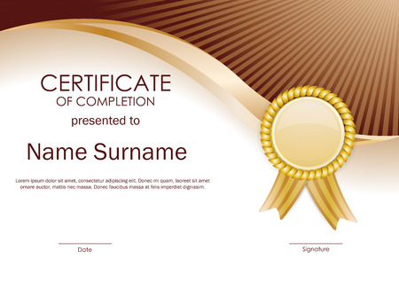 completion: Certificate of completion template with brown wavy background and gold label. Vector illustration