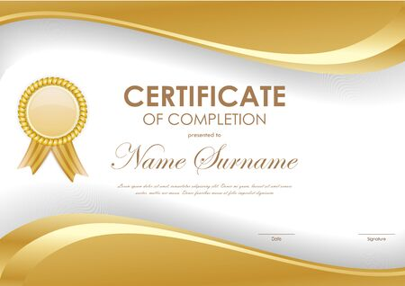 completion: Certificate of completion template with light brown wavy background and label. Vector illustration