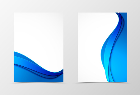 Front and back wave flyer template design. Abstract template with blue lines in material design style. Vector illustration 向量圖像