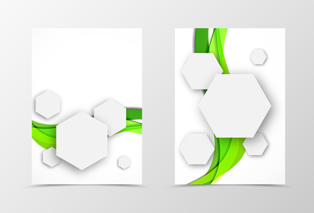 Front And Back Geometric Flyer Template Design. Abstract Template