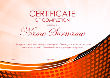 completion: Certificate of completion template with red digital pattern and dynamic light wavy circle surface background. Vector illustration Illustration