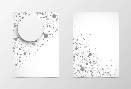 digital paper: Front and back digital flyer template design. Abstract template in gray colors with dot pattern and paper circle in polygonal style. Vector illustration