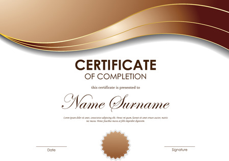 completion: Certificate of completion template with brown wavy light background and seal. Vector illustration Illustration