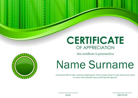 Certificado de plantilla aprecio con fondo verde superficie ondulada de banda digital y sello. ilustración vectorial