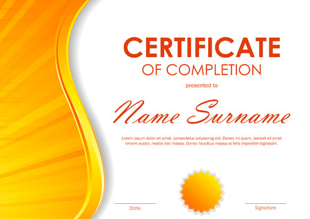 completion: Certificate of completion template with dynamic orange light wavy swirl background and seal. Vector illustration Illustration