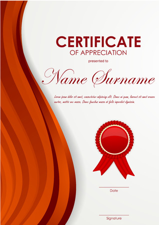 red swirl: Certificate of appreciation template with dynamic red swirl wavy background and label. Vector illustration Illustration