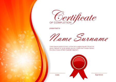 completion: Certificate of completion template with dynamic red bright wavy swirl background and label. Vector illustration Illustration