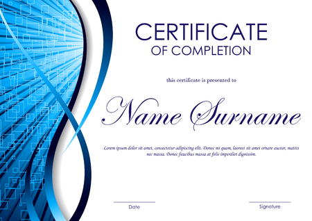 completion: Certificate of completion template with blue digital wavy swirl square surface background. Vector illustration