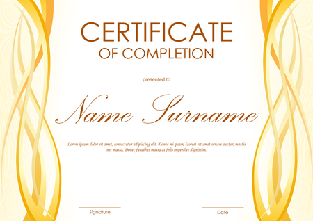 completion: Certificate of completion template with yellow wavy curved light background. Vector illustration Illustration