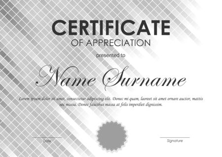 gray netting: Certificate of appreciation template with gray square netting background and seal. Vector illustration