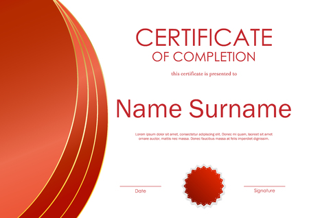 completion: Certificate of completion template with red dynamic light wavy background and seal. Vector illustration