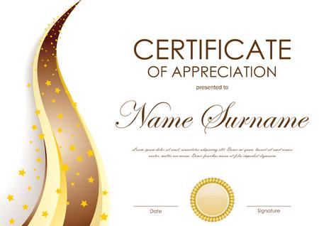 Certyfikat szablonu uznania ze złotym i brązowym falistym tłem i pieczęcią. Ilustracji wektorowych