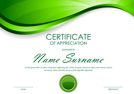 green swirl: Certificate of appreciation template with green dynamic light wavy swirl background and seal. Vector illustration