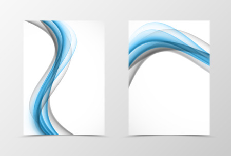 technologic: Front and back wave flyer template design. Abstract template with blue and gray transparent lines in dynamic style. Vector illustration Illustration