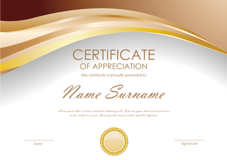 gold brown: Certificate of appreciation template with brown wavy background and gold seal. Vector illustration Illustration