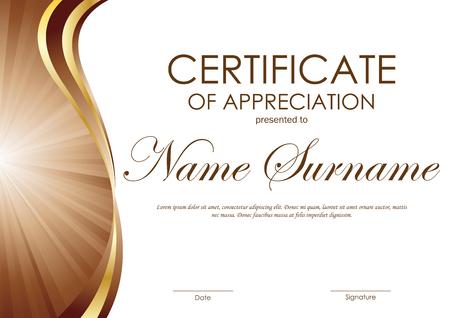 Certificado de plantilla aprecio con castaño ondulado y oro fondo del remolino curva. ilustración vectorial Ilustración de vector